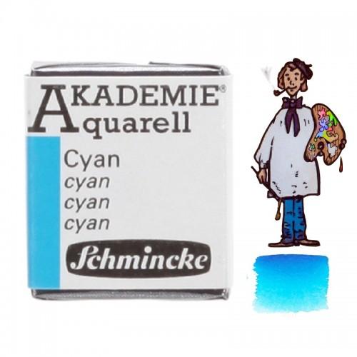 "ACUARELA SCHMINCKE ""AKADEMIE"" 1/2 GODET AZUL CYAN 448"