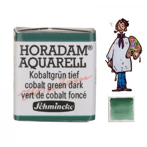 ACUARELA Horadam ½ Godet  VERDE DE COBALTO OSCURO S4. - 533