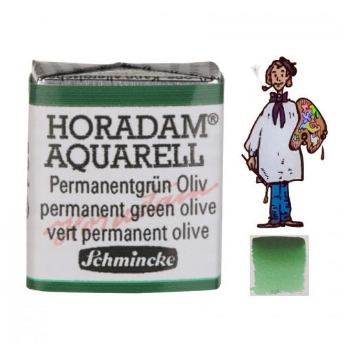 ACUARELA Horadam ½ Godet  VERDE PERMANENTE OLIVA S2. - 534
