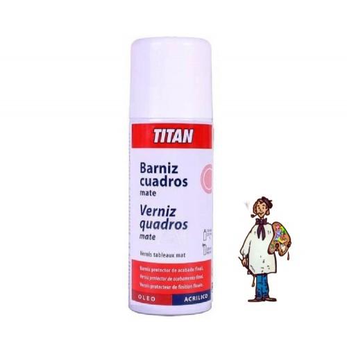BARNIZ SPRAY CUADROS MATE TITAN 400 ml.