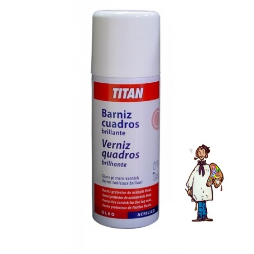 BARNIZ SPRAY CUADROS BRILLANTE TITAN 400 ml.