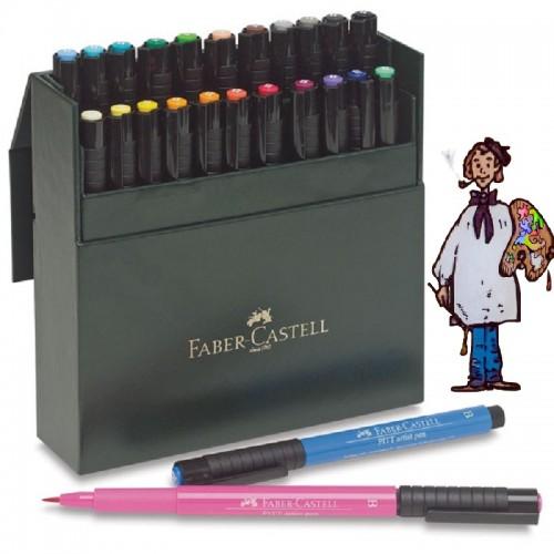 Caja imitación piel 24 rotuladores punta pincel Faber-Castell