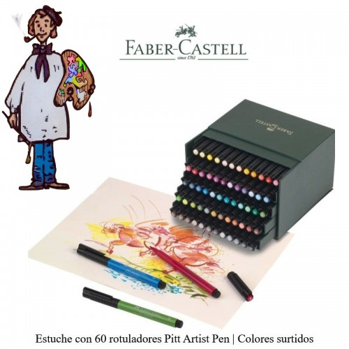 CAJA IMITACIÓN PIEL 60 ROTULADORES PUNTA PINCEL FABER-CASTELL