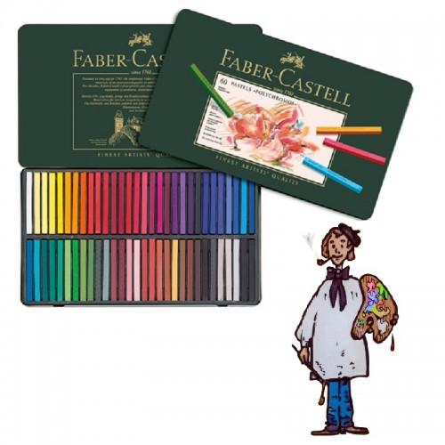 Caja Pastel Faber Castell metal 60 colores
