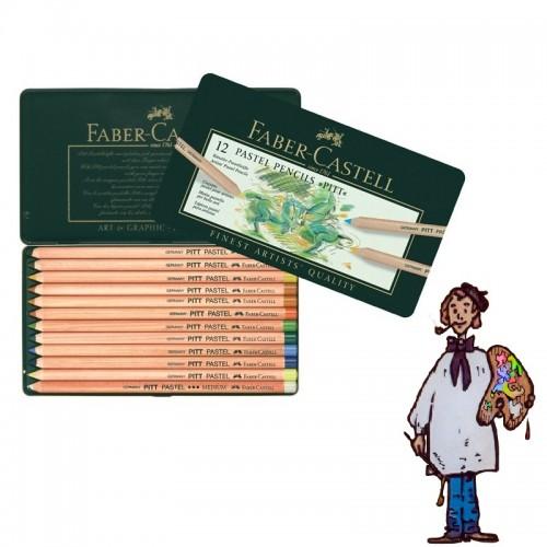 Caja metálica  lápices Pastel Pitt Faber Castell. 12 colores