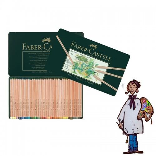 Caja metálica con 36 lápices Pastel Pitt Faber Castell.