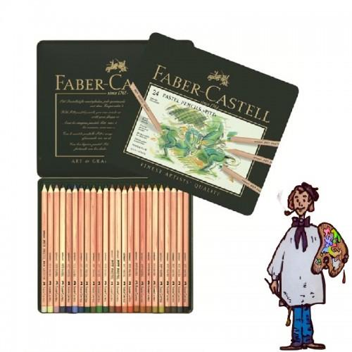 Caja metálica  lápices Pastel Pitt Faber Castell. 24 colores