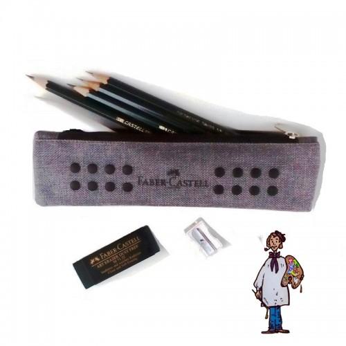 Estuche tela  con 4 lápices grafito Faber Castell 9000