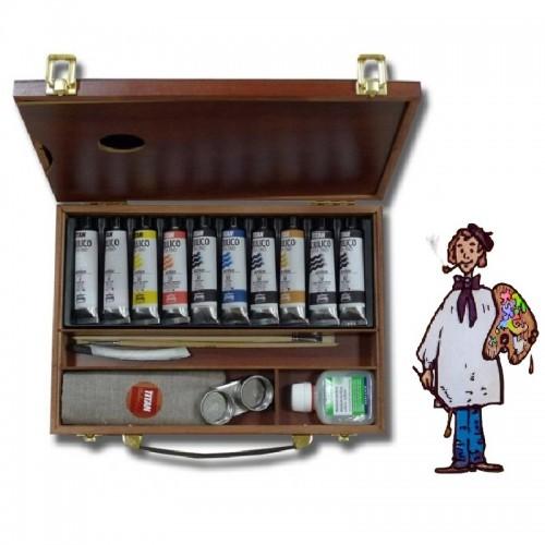 Caja madera Acrílico Titan Extrafino, 10 colores 40 ml.