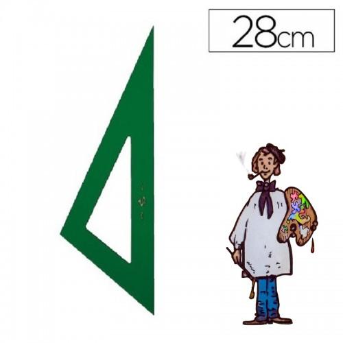 Cartabón técnico Faber Castell color verde de 28 cm