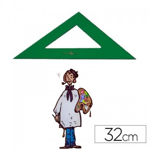 Escuadra técnica Faber Castell color verde de 32 cm