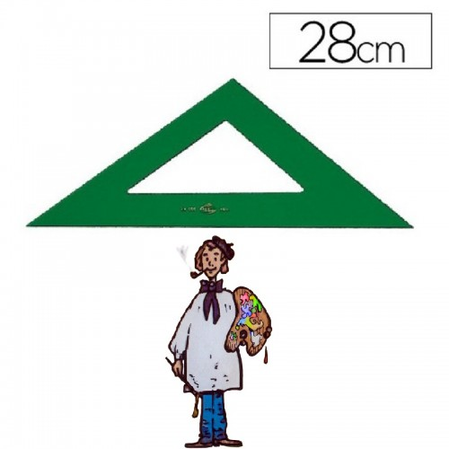 Escuadra técnica Faber Castell color verde de 28 cm