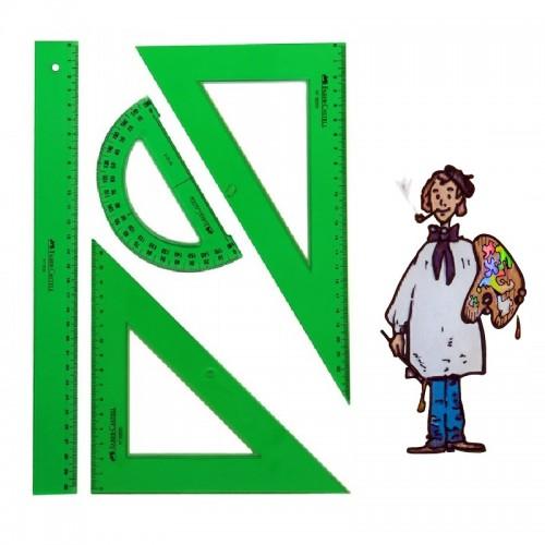 Juego escolar de reglas de plástico verde Faber Castell