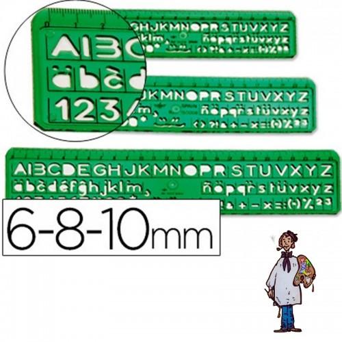 Normógrafo Juego de tres Letras de 6, 8 y 10 mm.