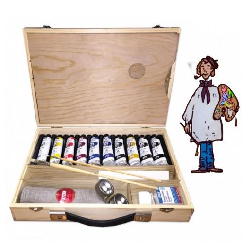 Caja maletín madera 10 colores óleo Goya 40ml