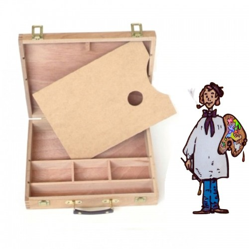 Caja maletín madera con paleta. 32.3 X 24.8 X 7.3