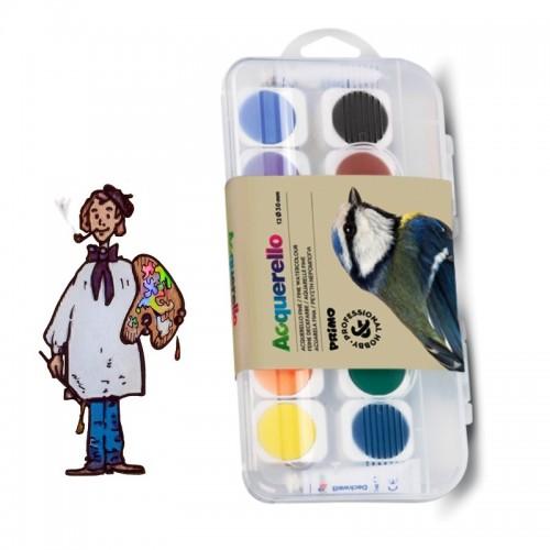 Acuarela fina PRIMO en godets extraíbles, 12 colores.