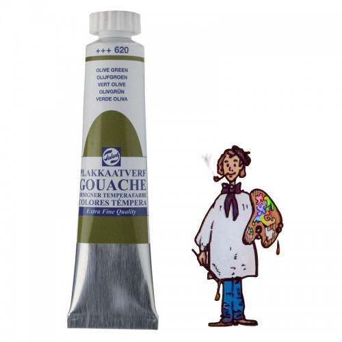 Témpera gouache Talens tubo 20ml verde oliva 620