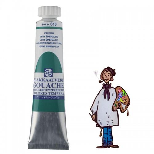 Témpera gouache Talens tubo 20ml verde esmeralda 616