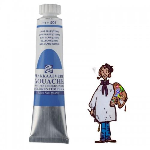 Témpera gouache Talens tubo 20ml azul claro (cian primario)501