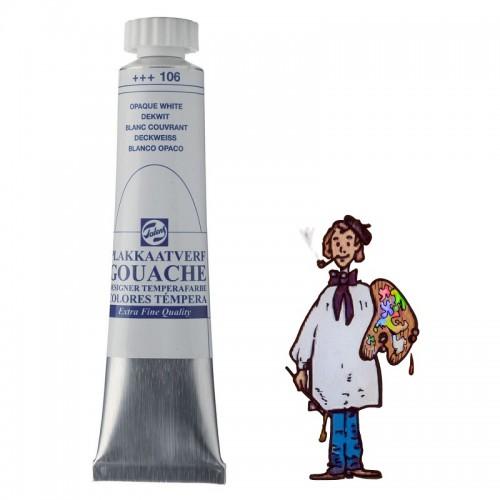 Témpera gouache Talens tubo 20ml blanco opaco 106