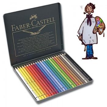 Caja metálica  polychromos Faber Castell para Artistas. 24 colores