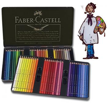 Caja metálica  polychromos Faber Castell para Artistas. 60 colores