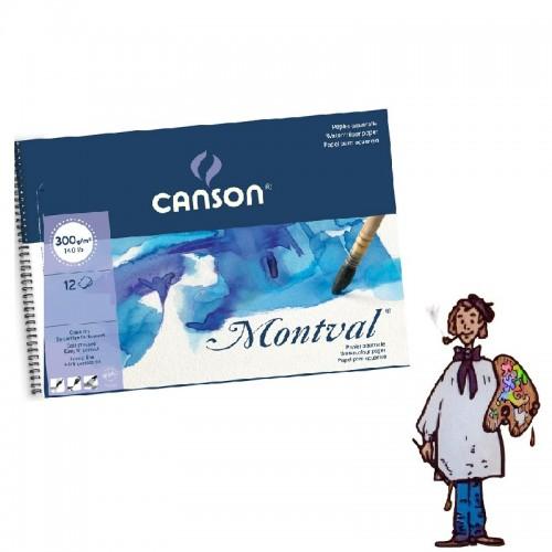 Álbum Bloc Acuarela Canson Montval  espiral 32x41cm. 12H - Fino 300g