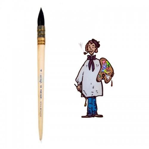 Pincel pelo de cabra redondo mango corto Van Gogh nº 4