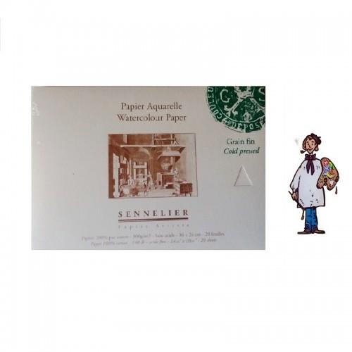 Bloc papel acuarela 100% algodón Sennelier - 300 g/m² - 36 x 26cm - grano fino