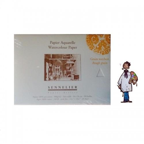 Bloc papel acuarela 100% algodón Sennelier - 300 g/m² - 36 x 26cm - grano grueso