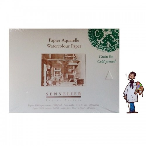 Bloc papel acuarela 100% algodón Sennelier - 300 g/m² - 41 x 31cm - grano fino