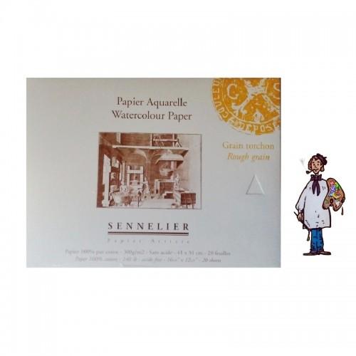 Bloc papel acuarela 100% algodón Sennelier - 300 g/m² - 41 x 31cm - grano grueso