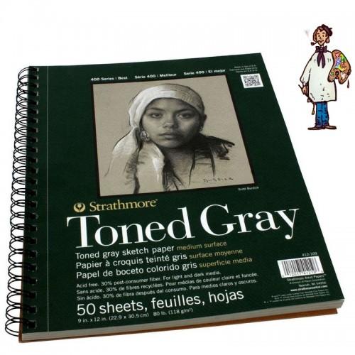 Bloc  Dibujo Strathmore Tono gris gra medio 118gr - 50 h - 22.9x30.5cm