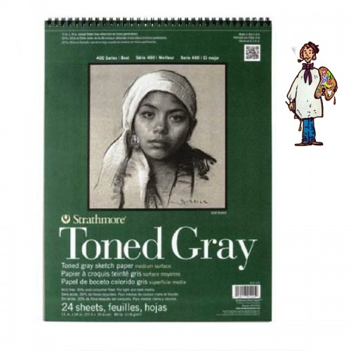 Bloc  Dibujo Strathmore Tono gris - gra medio 118gr - 24 h 27.9x35.6cm