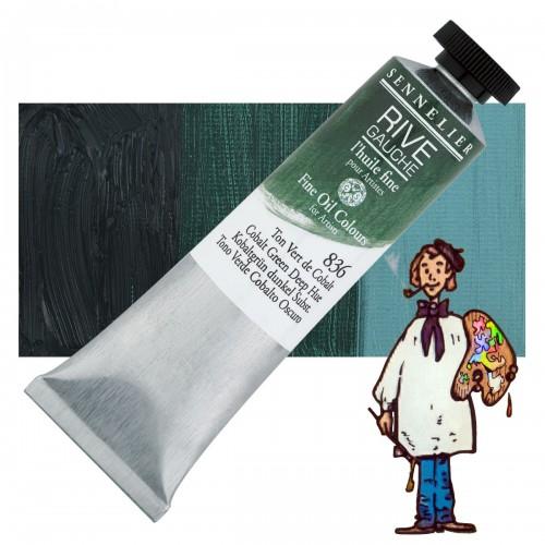 Óleo fino Rive Gauche Sennelier 40ML - Verde Cobalto Oscuro T 836