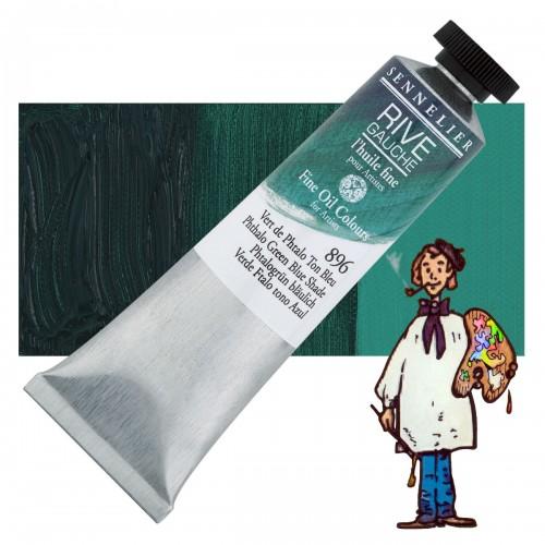 Óleo fino Rive Gauche Sennelier 40ML - Verde Ftalo Tono Azul 896