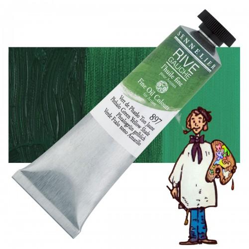 Óleo fino Rive Gauche Sennelier 40ML - Verde Ftalo Tono Amarillo 897