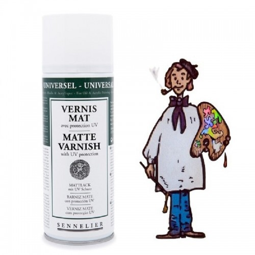 Barniz spray protección UV mate.