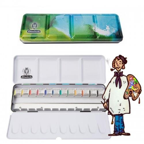 Caja metálica tapa  color - 12 acuarelas Schmincke Akademie 1/2 godets