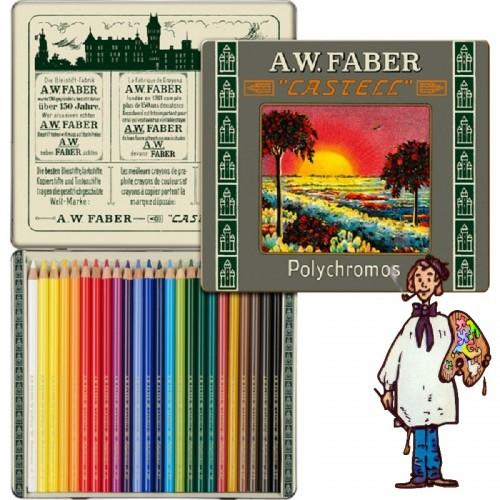 Caja metálica 24 lápices Polychromos Estuche 111 aniversario Faber Castell