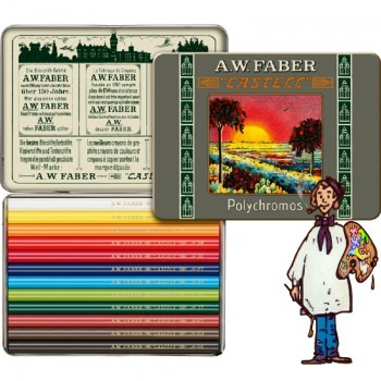 "Caja metálica 12 lápices Polychromos ""cortos"" Estuche 111 aniversario Faber Castell"