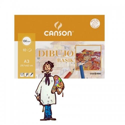 Basik Dibujo, (mini pack) 10 h., 130gr A3 (29.7x42)