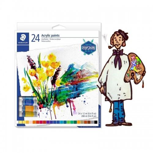 Caja  cartón  24 tubos  pintura acrílica  STAEDTLER