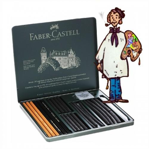 Caja de esbozo 24 piezas Pitt Charcoal set Faber Castell