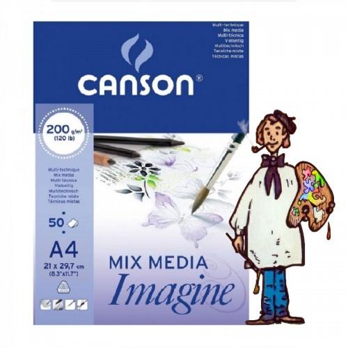Bloc canson imagine A4 - 200 grs 50 hojas dibujo blanco Multi-té