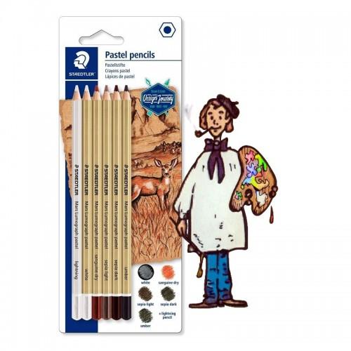 Pack de 6 lápices pastel de colores tierras surtidos STAEDTLER