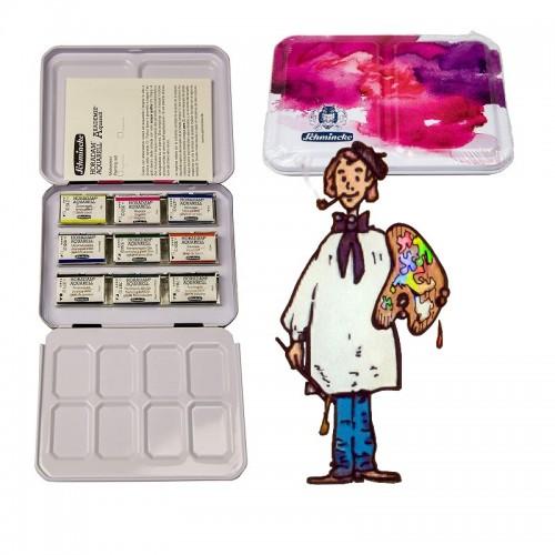 Caja metal acuarela Horadam con 9 godets - juego primarios y complementarios.