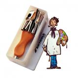 Estuche de plástico  mango 5 plumillas lino-grabado