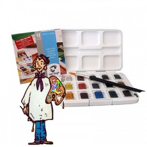 Caja con 12+3 acuarelas 1/2 godets Van Gogh y pincel
